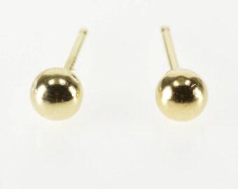 14k Round Sphere Ball Stud Post Back Earrings Gold