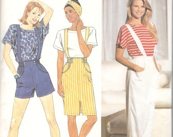 Simplicity 9740 1980s Misses Suspender Pants Shorts Skirt Top Pattern Womens Vintage Sewing Pattern Size 12 14 16 18 Bust 34 36 38 40 UNCUT