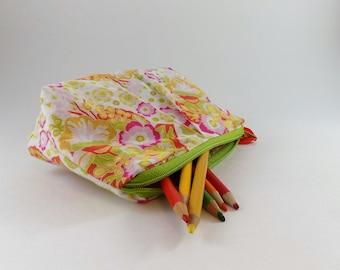 Bright Floral Print Zip Bag Cosmetic Bag Travel Bag Zippered Makeup Bag Snack Bag