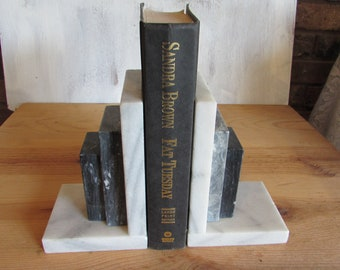 Vintage Marble Onyx Black and White Bookends.