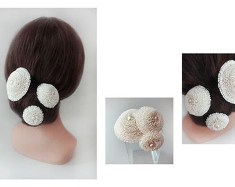 Bridal hair, white flower bun, quilted Hat woman ceremony, wedding hair pin