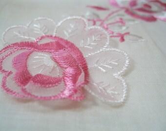 Vintage Dimensional Pink Rose Handkerchief