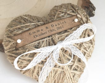 Wedding Ring Pillow/Holder-reuse as Christmas ornament-personalized-lace or ribbon-wedding ceremony-rin, jute heart wedding ring holder