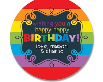 Rainbow Birthday Gift Stickers, Personalized, Happy Birthday Round Gift Labels, Gift Tag Stickers, Kids Birthday Stickers
