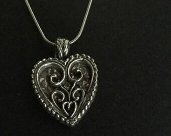 Fine Silver Filigree Heart Pendant