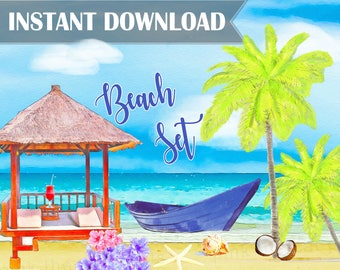 Beach Watercolor Clipart Templates Beach Digital Background Paper Clip Art Beach Bridal Shower Beach Wedding Beach Birthday INSTANT DOWNLOAD