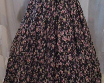 """Black Floral Bouquet  Skirt & Belt / Marie Antoinette/Colonial/Pompadour/Southern Belle Ball Gown  - 32""""W   FREE SHIPPING!"""