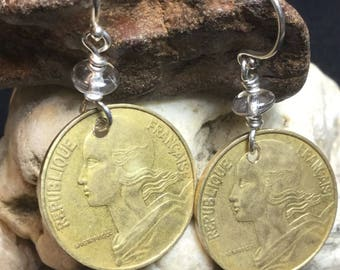 Gold French Coin Earrings