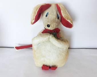 "14"" Vintage 1950s Christmas Mouse Stuffed Animal AS IS"