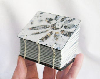 Blue Flower original mini notebook handmade blank book white writing paper plus gray drawing papers less than 3 inch size OOAK