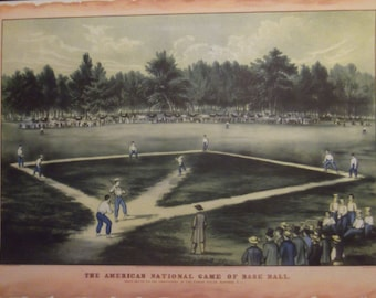 BASEBALL PRINT-The American National Game Of Baseball Original Print Gift For Dad Father's Day Ready To Frame Additional Prints Ship Free