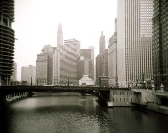 Chicago photo, downtown chicago photo, fine art, modern art, chicago river, chicago, bridge, holga, city photo, urban, sepia, black white