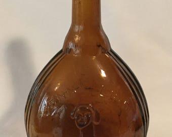 Vintage Fislerville Glass Works Jenny Lind Amber Glass Bottle