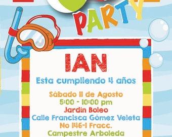 splash pool party  invitation birthday invitation  heavy cardstock or digital