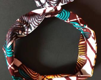 Bandeau chouchou wax pour chignon bunny mini bun wrap accessoire cheveux kente ethnique tissu africain imprimé motifs carreaux violet