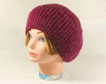 Vintage 80's EVERITT Purple Wool Knit Hat