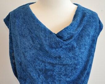 Blue 70's Cowl Neck Dress