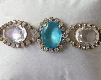 Vintage  baby blue  And clear rhinestones bracelet