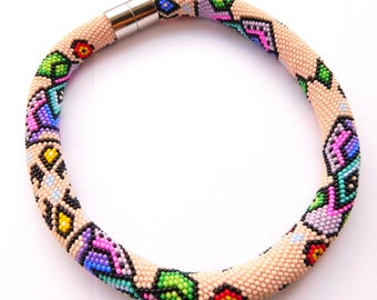 Colorful necklace Beaded Womens gift for her Rainbow jewelry Statement necklace Birthday gift Bright necklace Seed bead necklace Crochet