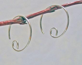 Small Hoop Earrings, Silver Hoop Earrings, 925 Sterling Silver, Simple Modern Earrings, Open Hoop Earrings, Wire Handcrafted Earrings
