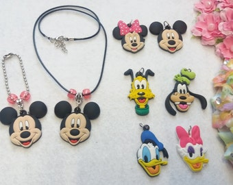 Mickey and Minnie Mouse's Friends Set of  Necklace and Zipper Pull