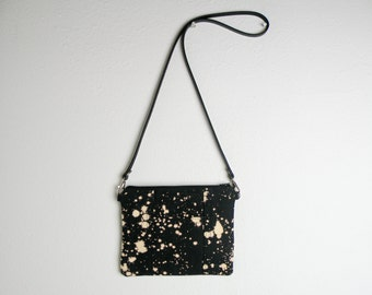 Handmade Tiny Purse in Black and White - Small Canvas Cross Body Bag - Handmade Bleach Dye Bag with Leather Strap