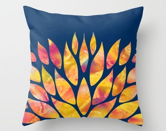 Blue and Orange Pillow Cover, Floral Pillow, Red, Yellow, Navy Blue Throw Pillows, Decorative Pillows Art Pillow Living Room Cushions, 24x24