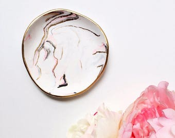 INLAID GOLD & PINK // Ring Dish, Jewelry Dish, Trinket Dish, Ring Holder, gifts for her