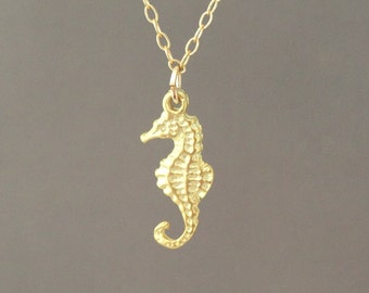 Gold Seahorse Necklace also in Silver