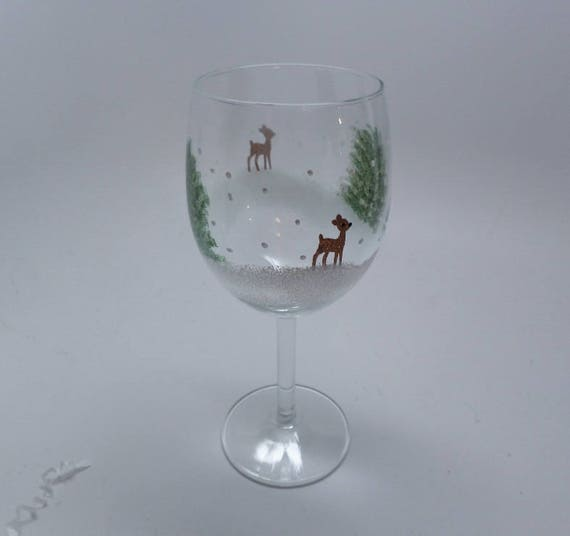 Hand Painted Wine Glasses -  Christmas Holiday Reindeer with trees Great Gift