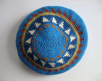 tapestry crochet cotton beret medium-large