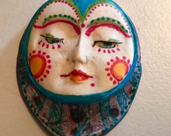 clay face jewelry craft supplies mask handmade spirit  woman blue mask  polymer  findings   doll parts head mask stripes tribal
