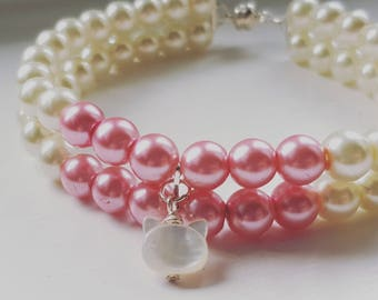 Double Stand Pearl Cat Collar