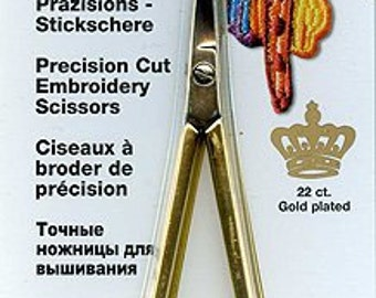 Curved embroidery scissors, madeira gold plated, 12 cm, 4.5 inches, needlework scissors, quilting gift, sewing scissors, curved scissors
