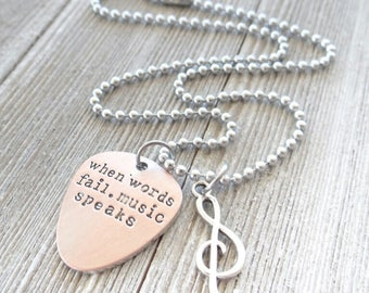 When words fail, music speaks necklace, Music Necklace, I love music, Musical note, Music jewelry