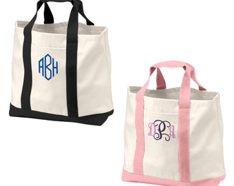 Custom Embroidered Tote Bag All Cotton Canvas - Personalized - Boat - embroidered - monogrammed - bridesmaid - In 6 color chooses