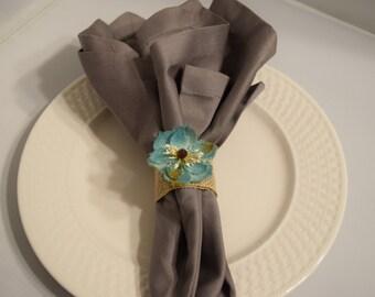 Burlap Blue Flower Napkin Rings