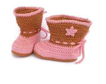 Baby cowgirl boots, cowgirl crochet boots, newborn cowgirl boots, cowgirl photo prop, western boots, western cowgirl,  girl pink boots