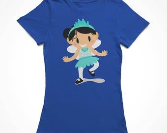 Cute Cartoon Girl In A Fairy Costume Women's Royal Blue Halloween T-shirt