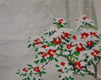 Japanese Textile Furoshiki Cloth 'Camellia Blanketed in Snow' Cotton Fabric 50cm w/Free Insured Shipping