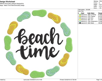 Beach Time Filled Embroidery Design