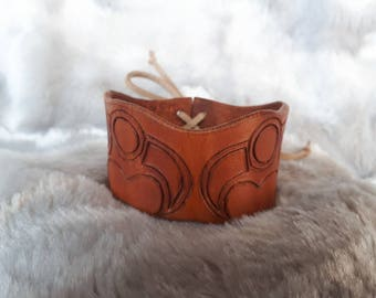 Norse Raven Leather Cuff