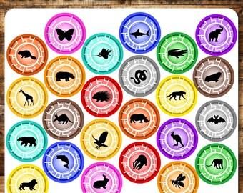 "24 Set Animal Adventure Discs Inspired, 4"" PRINTABLE Downloadable"