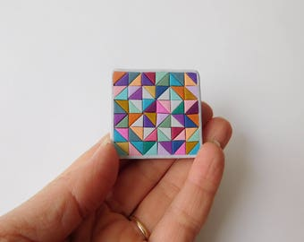 Quilt Block Magnet, polymer clay quilt, miniature quilt