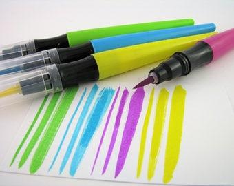 4 soft tip brush pens - hand lettering - calligraphy - lettering - calligraphy pen - writing - drawing - bullet journal - planner