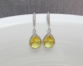 cz yellow earring , zirconia yellow earring , yellow dangle , yellow wedding jewelry , yellow crystal earring , yellow drop earring
