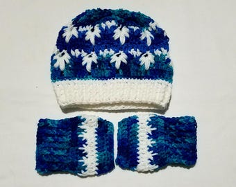 Blue & White Frozen-Style Winter Hat/Fingerless Glove Set (Adult Size)