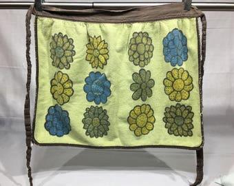 Vintage half apron with orange, yellow, brown, fall colors and picture, Retro Kitchen, Retro half apron, kitchen towel,
