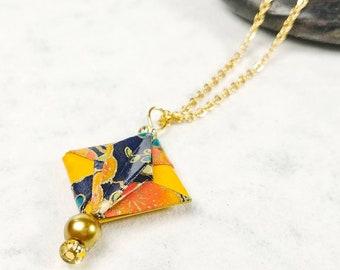Collier jaune | bijou en origami | Pendentif multicolore |  Origami par Ökibo