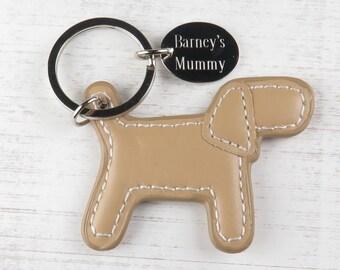 Personalised Engraved Dog Keyring ~ Brown